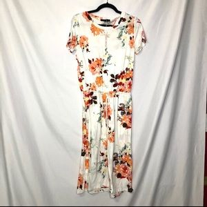 Dresses & Skirts - Simier Fariry Cream Floral Knee Length Dress S